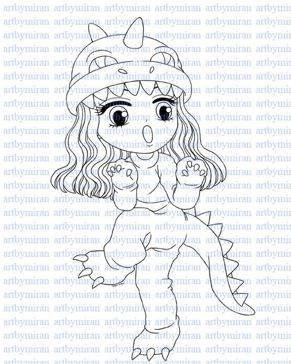 Digital Stamp-Cute-a-sauras, Digi Stamp, Coloring page, Printable Line art for Card and Craft Supply