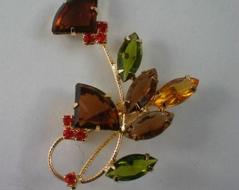Floral Bouquet Pin with Fall Colored Rhinestones - 3472