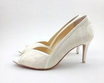 Ivory Lace Wedding Shoes, Ivory Lace Bridal Shoes, White Wedding Shoes, Ivory Lace Bridesmaid Shoes, Ivory Lace Mother of the Bride Shoes