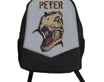Custom Personalized DINOSAUR T REX Animal Print Boys Backpack tote School Camp Monogram