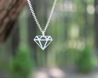 Diamond shape sterling silver necklace / modern minimalist jewelry