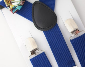 SUSPENDER & BOWTIE SET.  Newborn - Adult sizes. Royal Blue suspenders. Marvel Superhero Bow tie