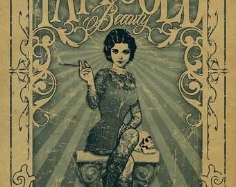 Amazing Tattooed Beauty poster.  Freak show. Freakshow. Carnival. Circus. Tattoo. Art. Print.