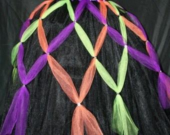 Witch Tutu Dress, Halloween Tutu Dress, Black Witch Tutu Dress with Webbing