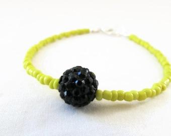 CLEARANCE Stacking shamballa bracelet, lemon yellow seed bead bracelet, simple shamballa bracelet, gift for her, handmade in the UK
