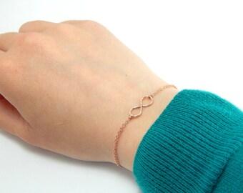 Double layer infinity bracelet, rose gold infinity bracelet, handmade infinity bracelet, infinite charm bracelet, everyday bracelet 279
