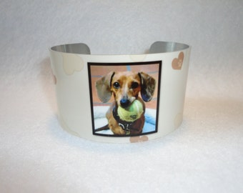PET Photo Cuff Bracelet - Bangle - Custom - Dog - Cat - Grandchildren - Sister - Teacher - Best Friend - Mother
