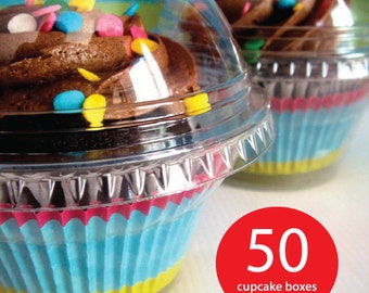 50 Cupcake Boxes, Clear Plastic, Favor,Birthdays