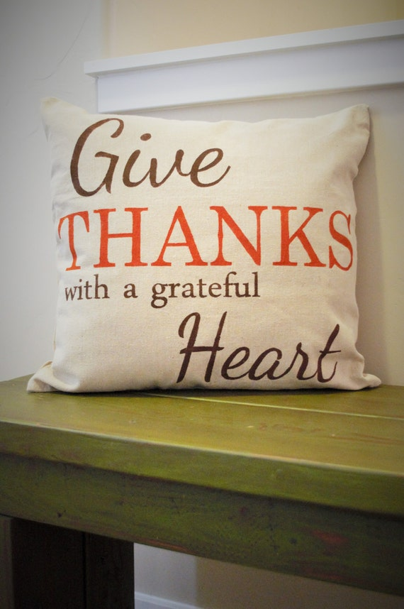 Items similar to sale fall pillow cover give thanks fall decor thanksgiving decor on etsy - Thanksgiving decorations on sale ...