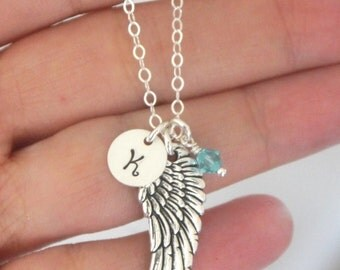 Remembrance Necklace, Remembrance Gift, Baby Memorial Necklace, Miscarriage Necklace, Angel Wing Necklace, Guardian Angel, Memorial Gifts