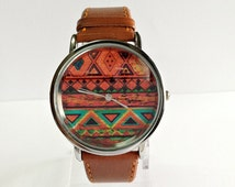 Aztec Watch, Women Watches, Mens Watch, Leather Watch, Wrist Watch, Boho Jewelry, Aztec Jewelry, Bohemian Fashion, Leather Jewelry, Unisex,