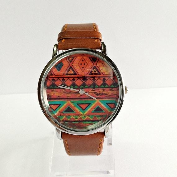 Watch aztèque, Style Vintage en cuir montre, Pastels, montres femmes, montres unisexe, copain Watch, Tan