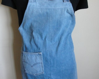 Denim full apron reversible