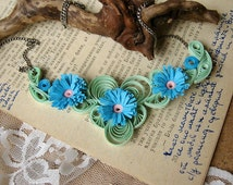 ... anniversary Gift, First Wedding gift, Paper Jewelry, Blue Flowers