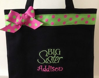 Big Sister Monogrammed Tote Bag / Personalized Tote Bag With Any Name