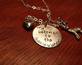 "Hand stamped Game Warden necklace ""My (heart) belongs to the Game Warden""-Game Warden's wife-Game warden necklace-Conservation officer"