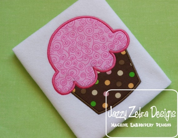 Cupcake Applique embroidery design - cupcake appliqué design - birthday appliqué design - dessert appliqué design