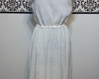 1960's White Sleeveless Terry Cloth Sundress by Jerell of Texas, 1970's Large Vintage White Knit Sundress, Boho Style