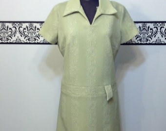 1960's Light Avocado Green Mod Shift Dress by Norman Wiatt Knits, Large / XL  or 14 / 16, 1970's Green Textured Sheath Dress, Mad Men