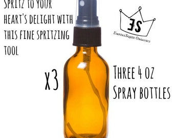 3 Glass Spritzer Bottles - 4oz - Boston Round Glass Spray Bottle - Glass Atomizer Bottle - Empty Glass Spray Bottle