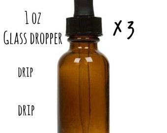 Dropper Bottle x3 - 1oz - Empty Glass Bottle with Dropper - Amber Dropper Bottle - Amber Glass Dropper Bottle
