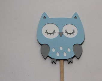 12 Cute Baby Blue, White, and Grey Owl Cupcake Toppers