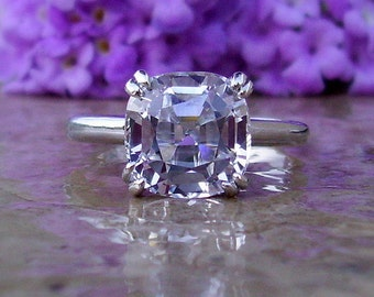 White Sapphire Engagement Ring, 5ct +, Sapphire Ring, White sapphire Ring, 14kt, 18kt, and Platinum Custom Order