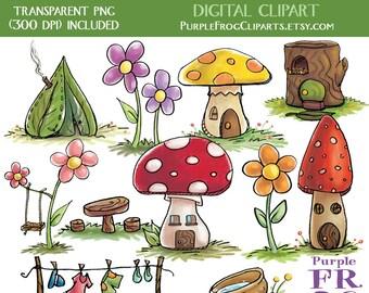 TINY HOUSES - Digital Clipart, Clip art. 11 images, 300 dpi. jpeg, png files. Instant download.