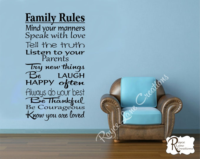 Family Rules Wall Decal #2