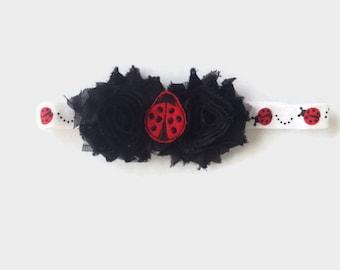 LadyBug Headband - Black Shabby Flower Headband - Little Girls Headband - Red Lady Bug Headband - Cute As A Button Boutique Headband
