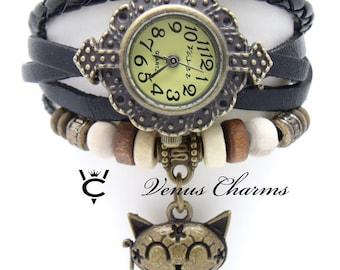 "wrist watch with leather bracelet chain ""happy cat"""