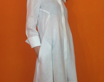 Asymmetric Loose White Shirt  Linen Long Sleeves Tunic Dress Top, Loose Maxi Blouse/ MD10037