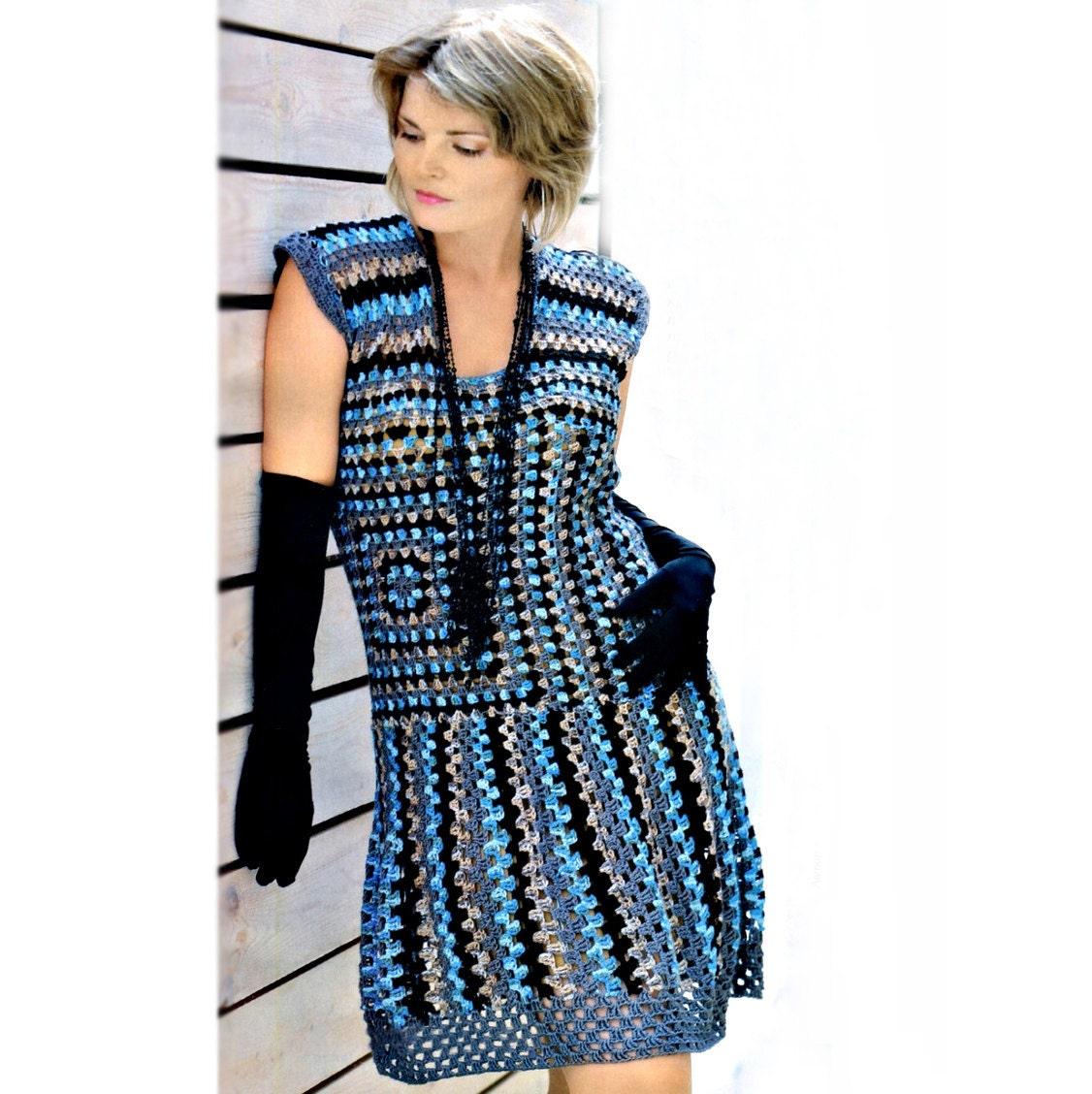 Crochet Granny Square Tunic Pattern : Crochet dress PATTERN, granny squares dress pattern, use ...