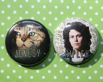 Alien Ripley and Jonesy- One Inch Pinback Button Magnet Set