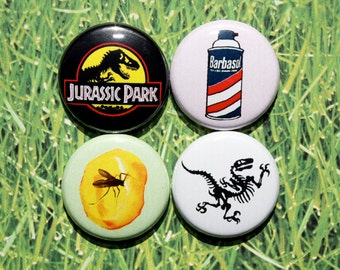 Jurassic Park Objects- One Inch Pinback Button Magnet Set