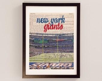 New York Giants Print - MetLife Stadium - Print on Vintage Dictionary Paper - Football Art, New York City, Meadowlands