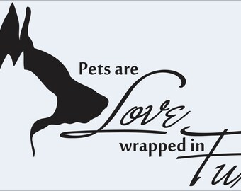 Pets are love,vinyl decal,animal rescue,custom,paw print,dogs,pets,animal lover,dogs,cats,pet adoption,Veterinarian Decor