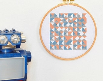 Modern TRIANGLES geometric cross stich pattern, abstract decorative in the hoop art cross stitch design, easy contemporary hand embroidery