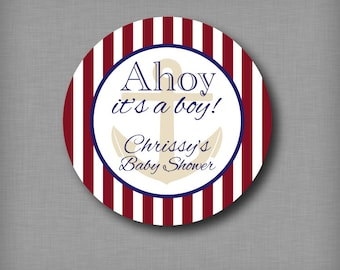 Ahoy It's a Boy Baby Shower Favor Sticker Nautical Labels for Mason Jars and Thank You Gifts