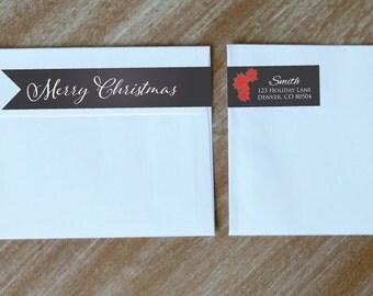 Wraparound Address Label Return Address Labels Christmas Address Label Chalkboard Personalized Holiday Stickers
