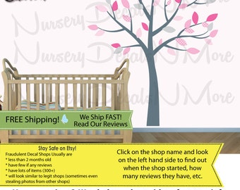 Gray Tree Wall Decals with leaves, Girl Wall Decal, Gray Tree Stickers (Pink Gray)  SmTO
