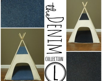 Dog Teepee Pet Tent - Large 36  base - The Denim Collection - choose light & Large Dog Teepee Pet Tent 36 base Natural Canvas PICK