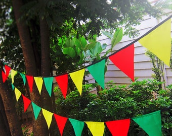 10 Yard Rasta bunting pennant garland banner -  cotton reggae flags - rasta party bunting - long pennant flags - reggae outdoor - Bob Marley