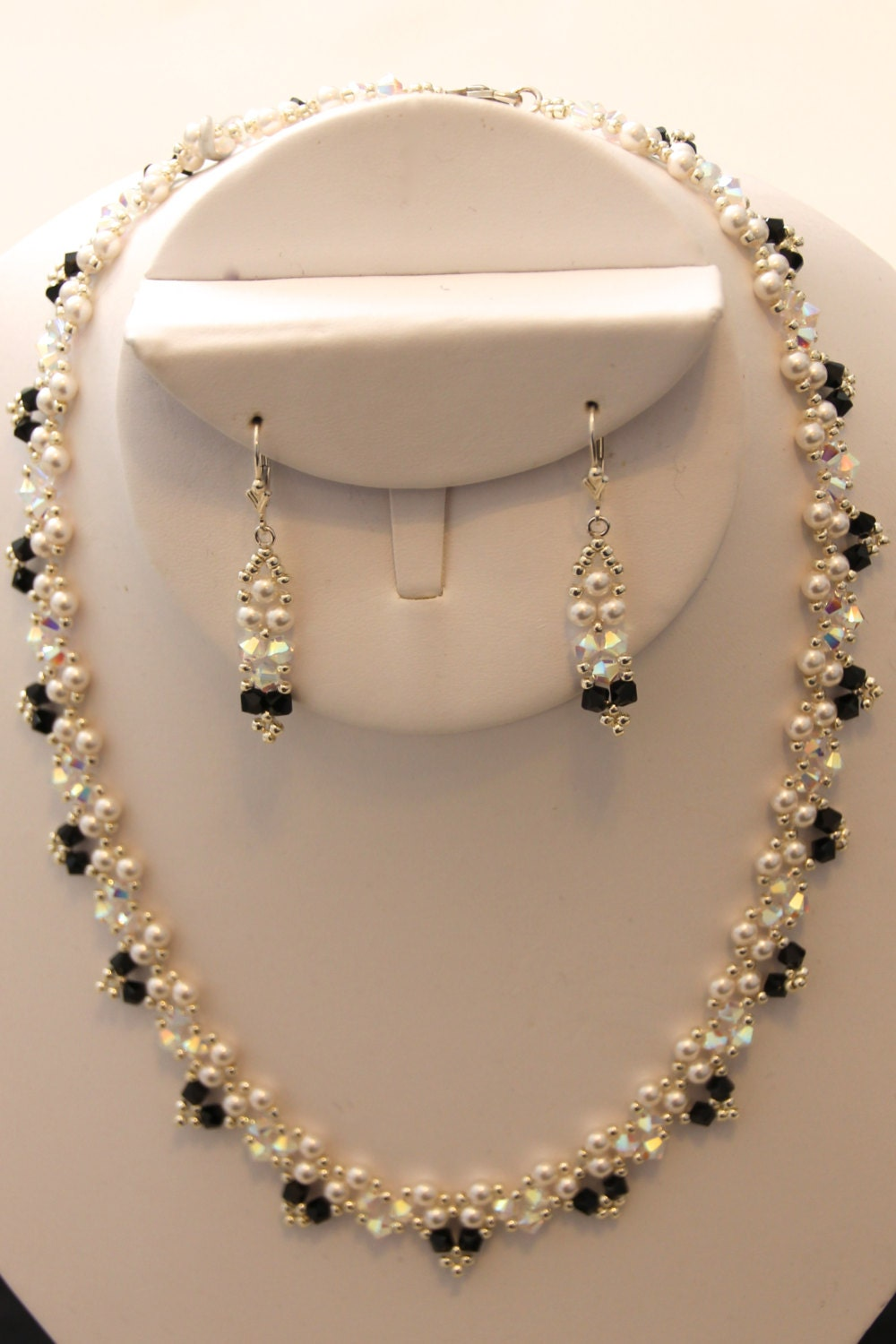 swarovski and seed bead necklace earring set
