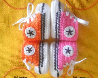 baby booties sneaker converse style all stars double sole