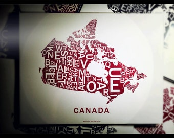 Far Sky Canada Typographic Map