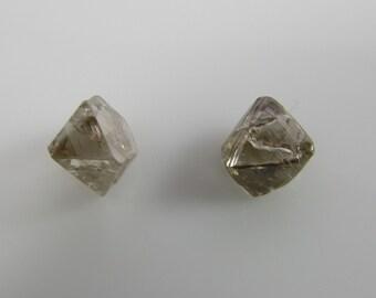 2 Matching chocolate clear rough diamonds set, from Russia, Rare raw uncut diamonds, rough raw uncut diamonds, chocolate diamonds