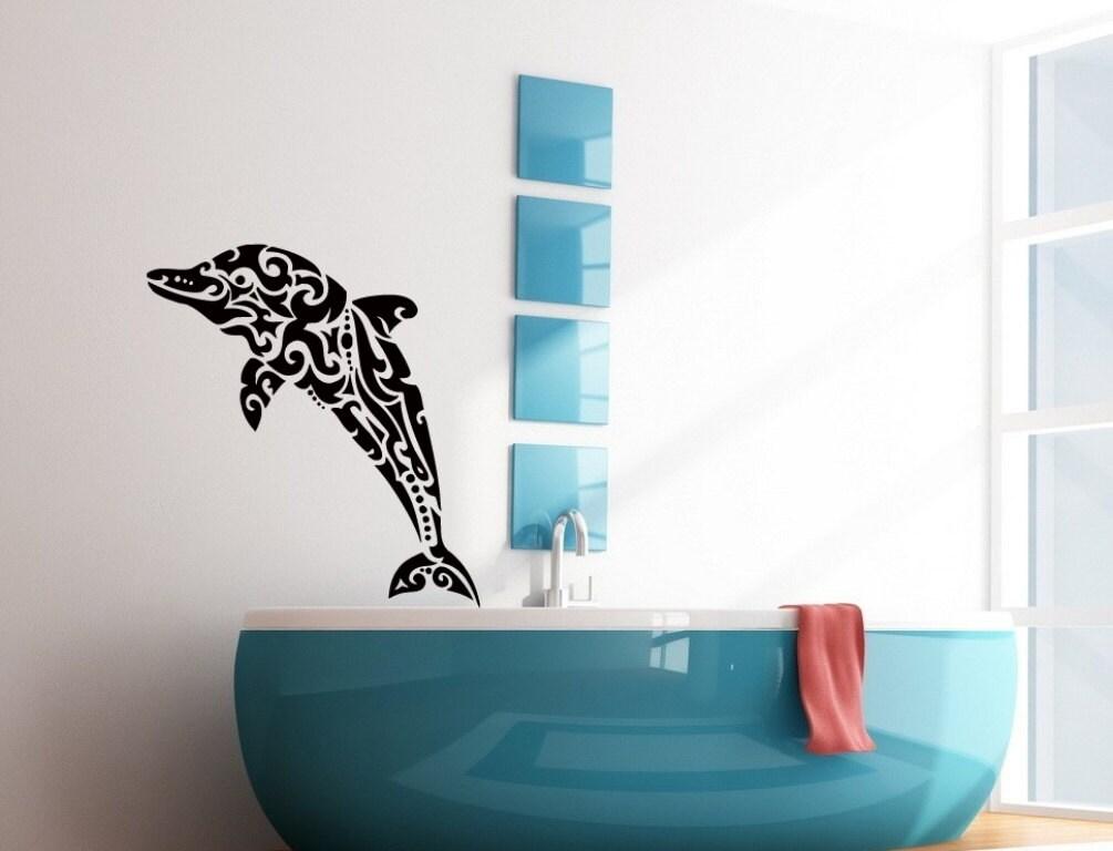 Wall decals floral dolphin decal vinyl sticker bathroom decor for Dolphin bathroom design