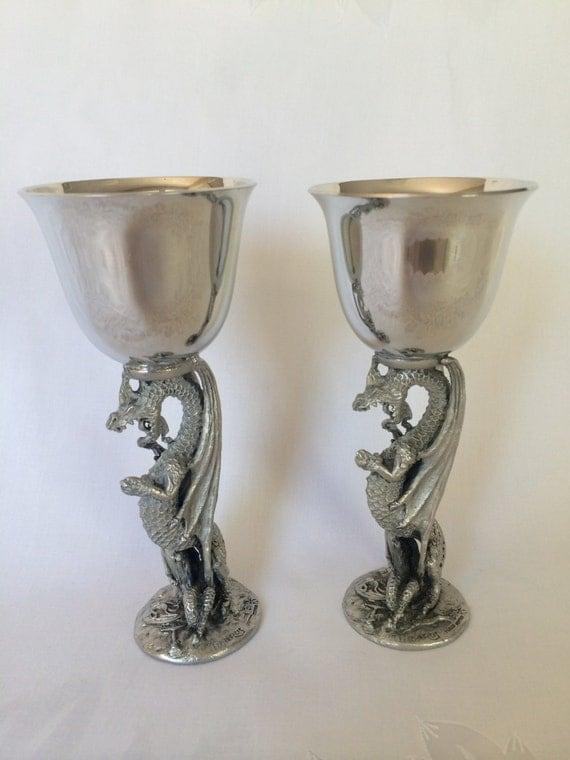 Pewter Medieval Dragon Goblets Vintage Gallo Pewter Wine
