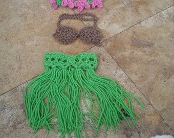 Super Cute Hula Girl Crochet Outfit